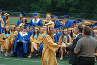 Accepting the diploma!