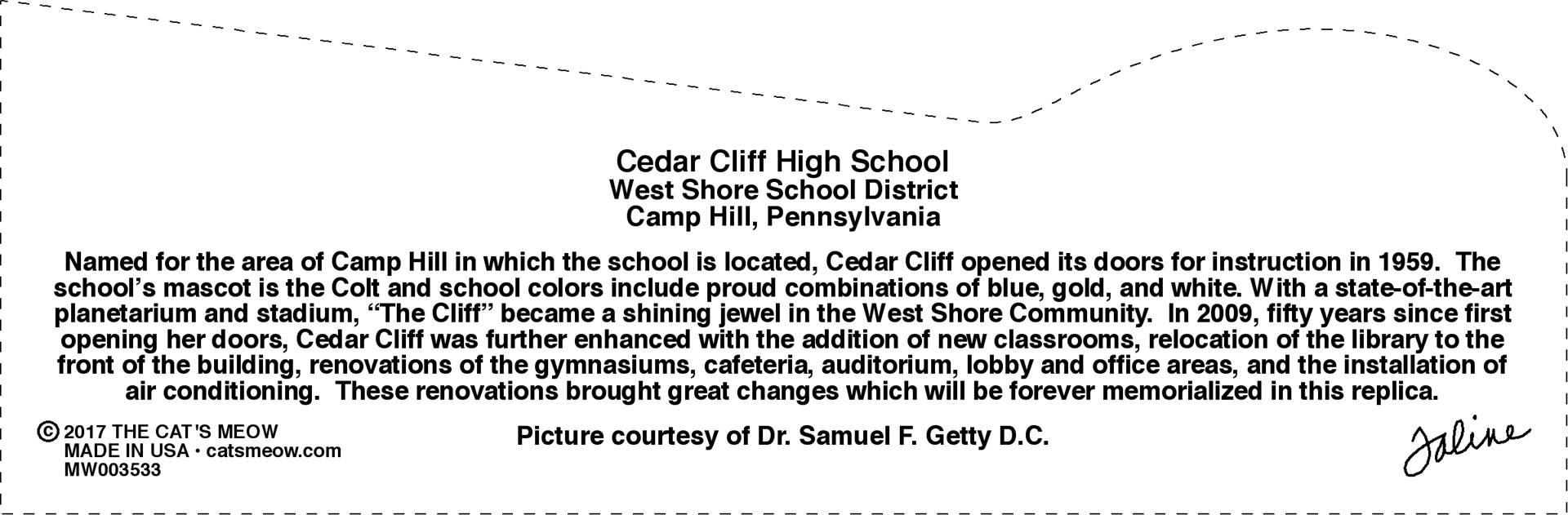 Cedar Cliff - Back